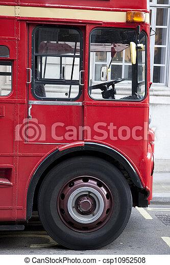 Close up of Red London Bus Cab, London, England, UK - csp10952508