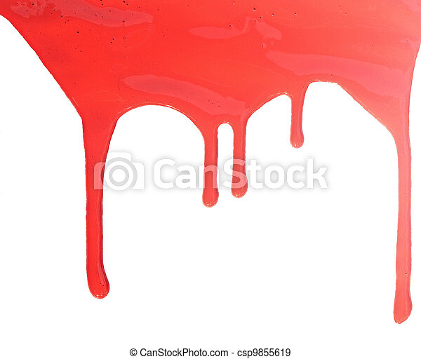 close up of red paint leaking on white background - csp9855619
