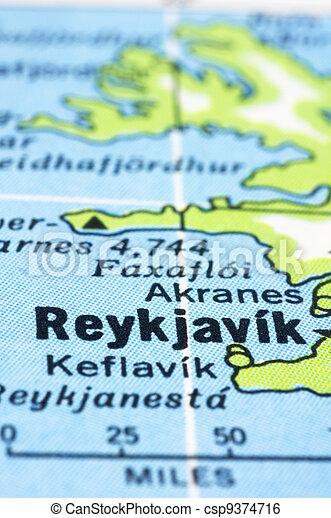 close up of Reykjavík on map, Iceland - csp9374716