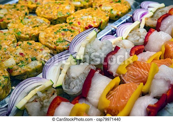 Close up of salmon kebab - csp79971440