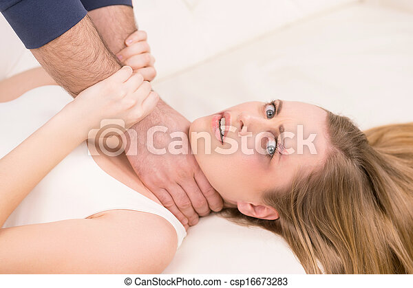 Teen naked male chocked by female