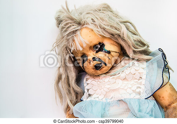 Close up of scary baby doll of halloween - csp39799040