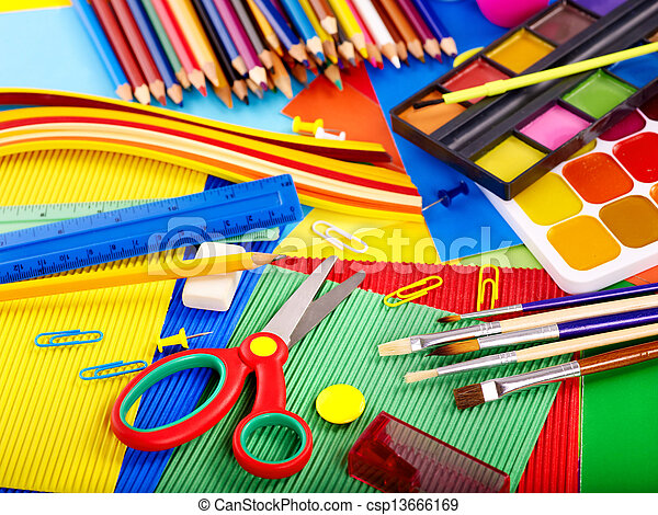 Close up of school supplies. - csp13666169