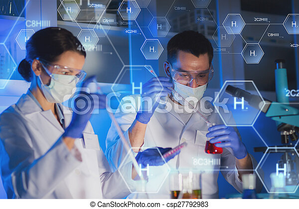close up of scientists making test in lab - csp27792983