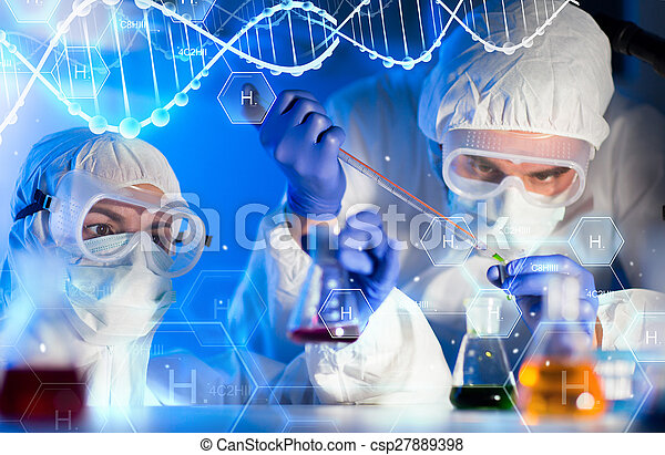 close up of scientists making test in lab - csp27889398
