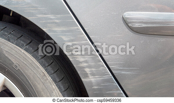 close up of scratches on the car body - csp59459336