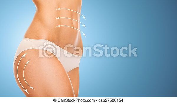 close up of slim woman tummy and hips in underwear - csp27586154