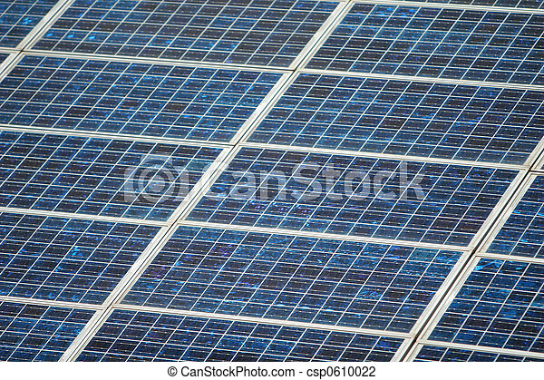 Close Up of Solar Panels. Good for issue about power, air pollution, global warming, etc. - csp0610022