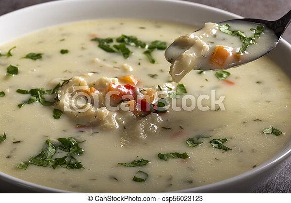 Close up of spoon with Romanian traditional soup - Ciorba de Burta - csp56023123