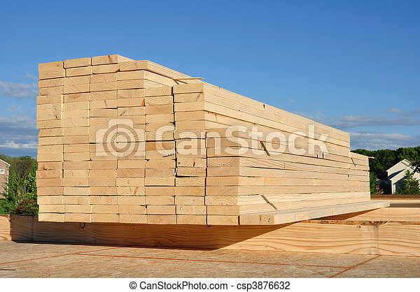 Close-up of Stacked Lumber - csp3876632