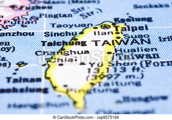 Map Of Asia Taiwan.Close Up Of Taiwan On Map