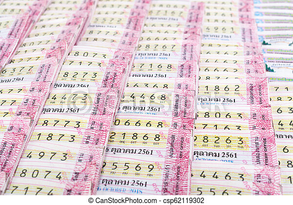Close up of Thai government lottery tickets texture background