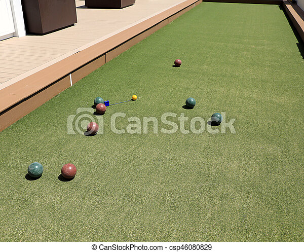 Close up of the bocce balls during play. - csp46080829