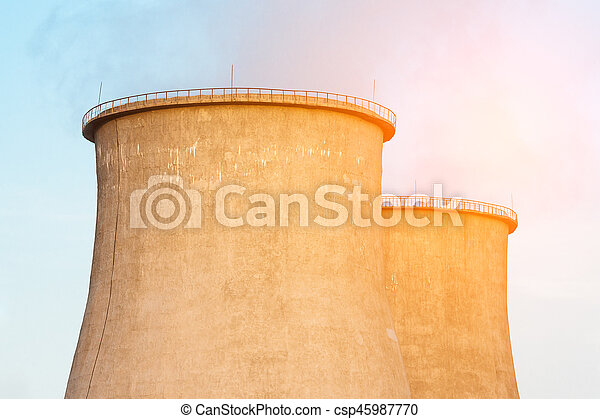 Close up of the cooling towers - csp45987770