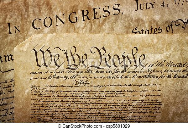 Close-up of the U.S. Constitution - csp5801029