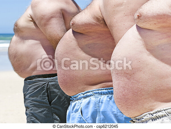 Close up of three obese fat men of the beach - csp6212045