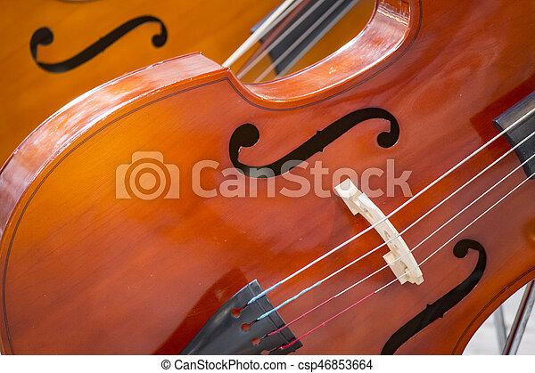 Close-up of two cello. violoncello. - csp46853664