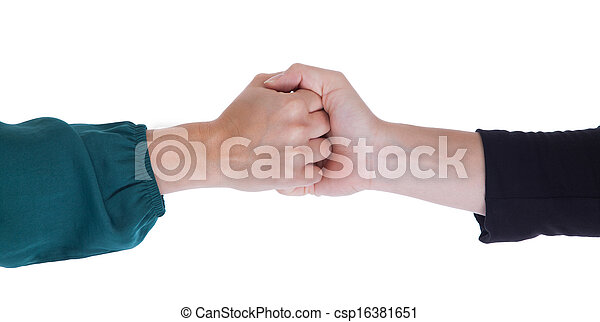 Close up of two women shaking hands - csp16381651
