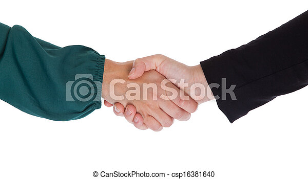 Close up of two women shaking hands - csp16381640