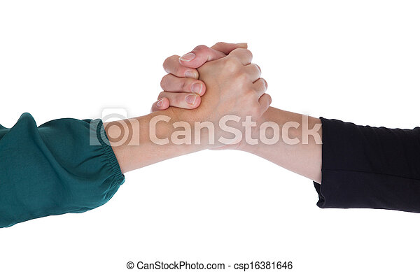 Close up of two women shaking hands - csp16381646