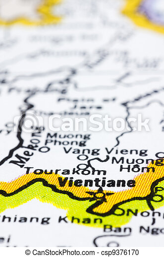 close up of vientiane on map, Laos - csp9376170