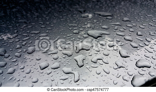 Close Up Of Water Droplets On Metal Surface As Background