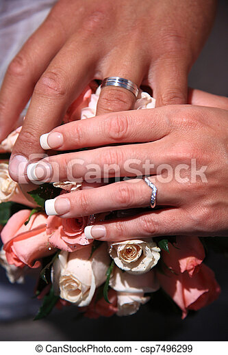 Close Up Of Wedding Rings Hands With Wedding Rings Of Bride And Groom