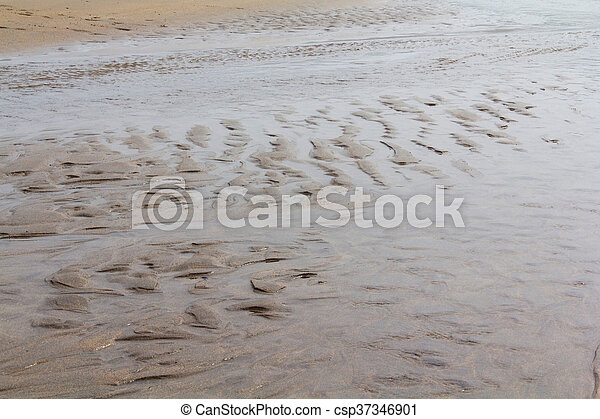 Close up of wet sand on the beach - csp37346901