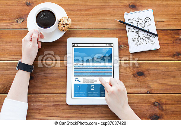 close up of woman with chart on tablet pc - csp37037420