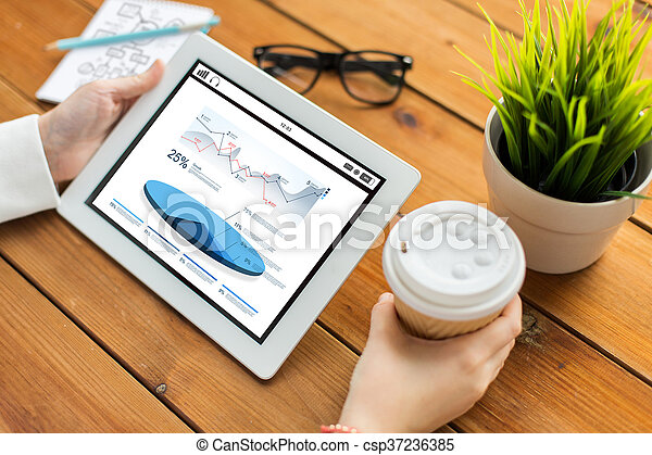 close up of woman with charts on tablet pc - csp37236385