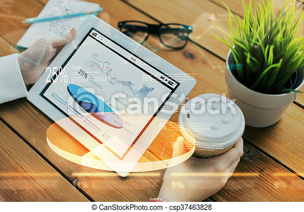 close up of woman with charts on tablet pc - csp37463828