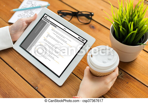 close up of woman with coding on tablet pc - csp37367617