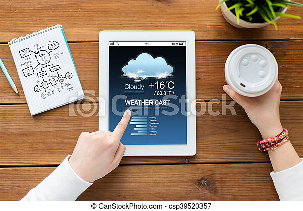close up of woman with tablet pc on wooden table - csp39520357