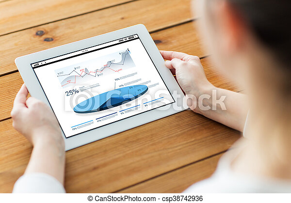 close up of woman with tablet pc on wooden table - csp38742936