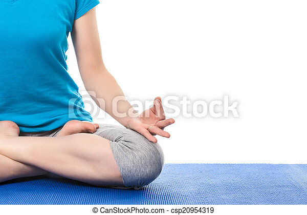close up of yoga padmasana lotus pose with chin mudra