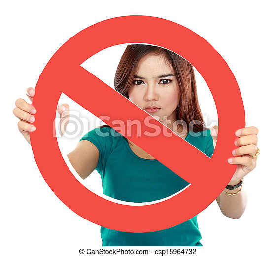 Close up of young woman holding prohibited sign - csp15964732