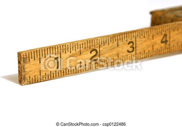 Close Up on an Old Measuring Tape / Ruler - csp0122486