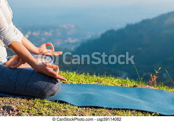 close up padmasana lotus pose meditation relaxation