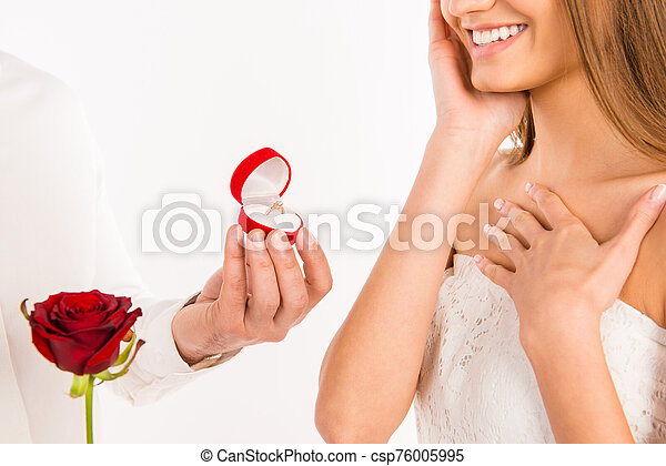 Close up photo of making proposal of marrige to happy girlfriend - csp76005995