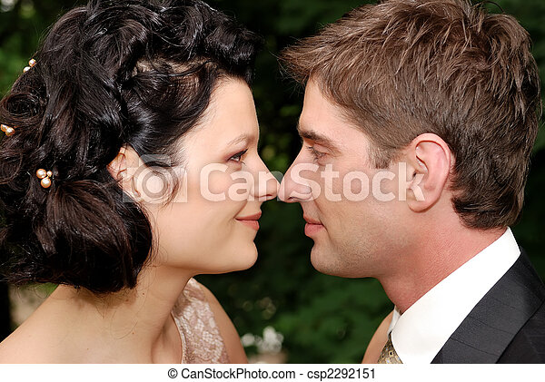 Close-up photo of young wedding couple - csp2292151