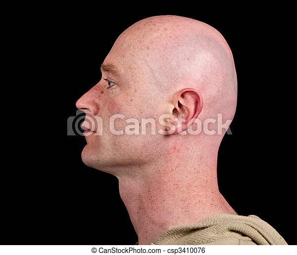 close up picture of a male head from side on black - csp3410076