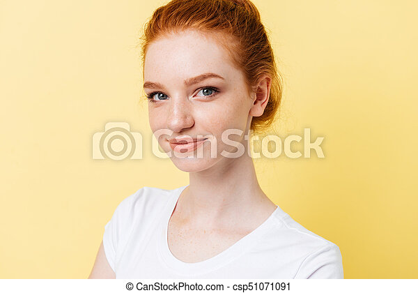 Close up picture of smiling girl looking at the camera - csp51071091