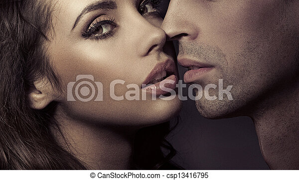 Close up portrait of a loving couple - csp13416795