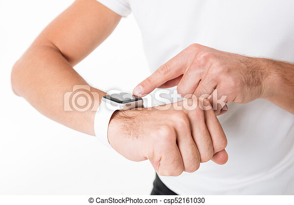 Close up portrait of a male hands pointing finger - csp52161030
