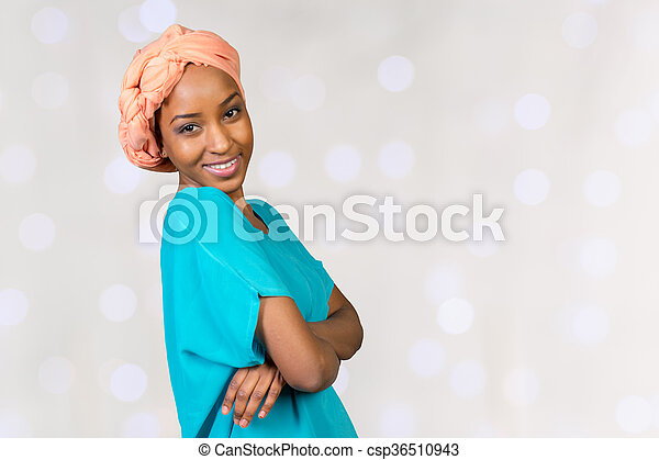 close up portrait of african american woman - csp36510943
