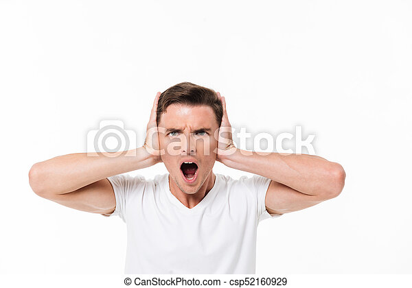 Close up portrait of an angry irritated man screaming - csp52160929