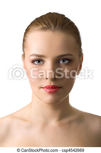 Close-up portrait of beautiful woman on white background - csp4542669