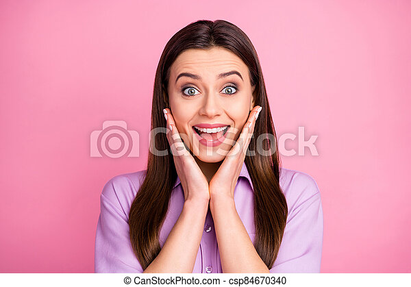 Close-up portrait of her she nice-looking attractive lovely pretty amazed cheerful cheery brunet straight-haired girl cool great news present gift reaction isolated over pink pastel color background - csp84670340
