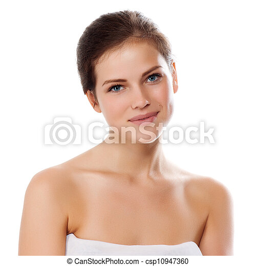 Close-up portrait of sexy caucasian young woman with beautiful skin - csp10947360