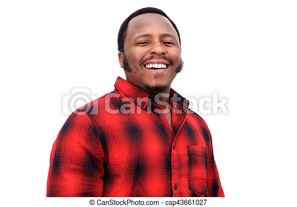 119461ade7e Close up portrait of young black guy laughing against isolated white ...